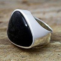 Obsidian cocktail ring, 'Asymmetrical Black' - Sleek Contemporary Obsidian Women's Ring in Taxco Silver