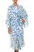 Silk robe, 'Blue Hibiscus Haven' - Women's Floral Silk Robe (image 2a) thumbail