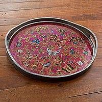 Reverse painted glass tray, 'Butterfly Waltz in Fuchsia' - Reverse Painted Glass Tray with Butterfly Motifs in Fuchsia