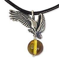 Men's amber pendant necklace, 'Sacred Eagle' (Mexico)