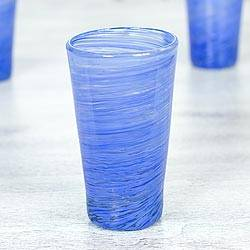 Blown glass highball glasses, 'Cobalt Centrifuge' (set of 6) - Mexican Hand Blown Cobalt Blue 13 oz Highball Glasses (6)