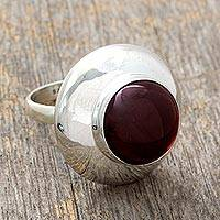 Garnet cocktail ring, 'In Moonlight' - Garnet solitaire ring