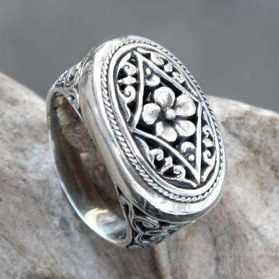 unique best friend necklace - Ornate Sterling Silver Cocktail Ring with Floral Motif