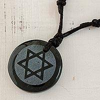 Jade pendant necklace, 'Magen David' - Jade Star of David Pendant on Black Leather Cord Necklace