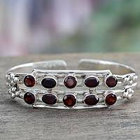 Garnet cuff bracelet, 'Crimson Kiss' - Sterling Silver and Garnet Bracelet from India