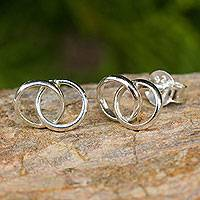 Sterling silver button earrings, 'Lifelong Love' - Handcrafted Thai Sterling Silver Wedding Ring Earrings