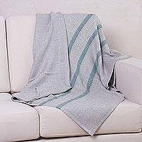 100% baby alpaca throw, 'Pearl Grey Ocean' - 100% Baby Alpaca Striped Throw in Pearl Grey