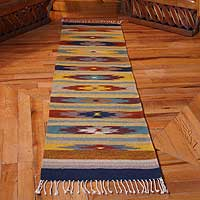 Zapotec rug, 'Fall Foliage' (2x8) - Zapotec Wool Rug (2x8)