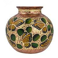 Copper vase, 'Dance of the Monarch Butterfly' - Gold Leaf on Round Copper Vase Crafted by Hand