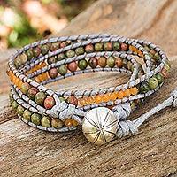 Unakite wrap bracelet, 'Jungle Adventure' (Thailand)