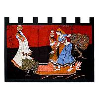 Cotton batik wall hanging, 'Village Lass' - Fair Trade Cotton Wall Hanging in Batik