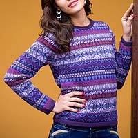 100% alpaca sweater, 'Purple Poppy' - Knit 100% Alpaca Snowflake Pattern Pullover Sweater