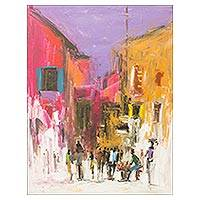 'Daybreak' - Expressionist West African City Street Scene Painting