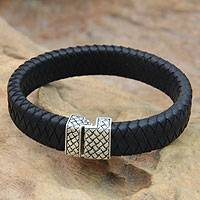 Men's sterling silver and leather bracelet, 'Virile' - Men's Leather and Sterling Silver Bracelet