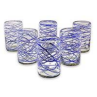Blown glass tumblers, 'Sapphire Swirl' (set of 6) - Six Blue Swirl Hand Blown 13 oz Glass Tumblers