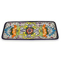 Ceramic serving plate, 'Guanajuato Flora'  - Hand Crafted Talavera Style Ceramic Platter from Mexico