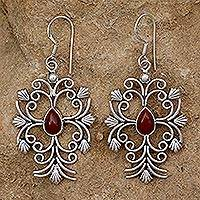 Carnelian flower earrings, 'Vintage Vineyard' - Handcrafted Sterling Silver and Carnelian Dangle Earrings