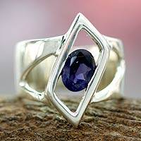 Iolite solitaire ring, 'In Balance' - Sterling Silver Single Stone Iolite Ring from Modern Jewelry
