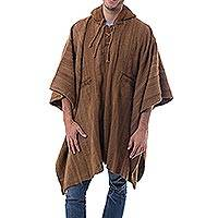Men's 100% alpaca poncho, 'Andean Desert' - Handcrafted Men's Alpaca Wool Patterned Poncho