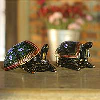 Lacquered boxes, 'Good Luck Turtles' (pair) - Handcrafted Lacquerware Decorative Boxes (Pair)