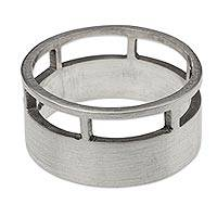 Men's silver band ring, 'Architectural' - Brushed Satin Silver Men's Band Ring from Mexico