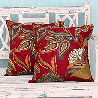 Applique cushion covers, 'Paisley Wine' (pair) - 2 Red Handmade Embroidered Applique Cushion Covers
