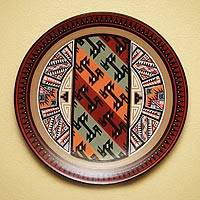 Cuzco decorative ceramic plate, 'Moche Birds' - Cuzco decorative ceramic plate