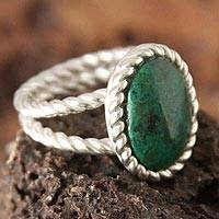 Chrysocolla cocktail ring, 'Alluring' - Chrysocolla cocktail ring
