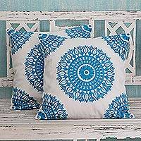 Cotton cushion covers, 'Cool Turquoise Mandalas' (pair) - Embroidered Blue on White Cushion Covers from India (Pair)