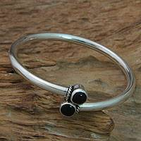 Onyx bangle bracelet, 'Shooting Stars' - Handmade Onyx Cabochon Bangle Bracelet