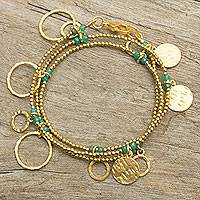 Gold plated chalcedony wrap bracelet, 'Retro Eclipse' - Gold Plated Wrap Charm Bracelet with Green Chalcedony