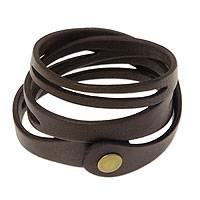 Leather wrap bracelet, 'Brown Whisper' - Artisan Crafted Leather Wrap Bracelet from Bali