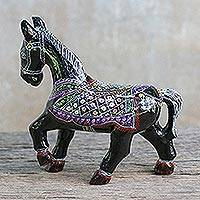 Lacquered wood figurine, 'Prancing Thai Horse' - Handcrafted Lacquered Wood Figurine