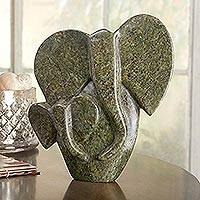 Shona soapstone sculpture, 'Family Pride' - African Soapstone Shona Elephant Sculpture