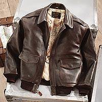 Leather A-2 flight jacket, 'Road to Victory' - Authentic Men's Brown Leather A-2 Flight Jacket