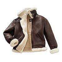 Sheepskin B-3 flight jacket, 'Himalayan Journey' - Brown Sheepskin B-3 Flight Jacket for Men