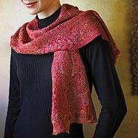 Jamavar wool scarf, 'Rose of Kashmir' - Jamavar Wool Scarf