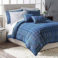 Cotton duvet cover, 'Rajasthani Indigo' - Indigo Cotton Duvet Cover Hand Printed in India