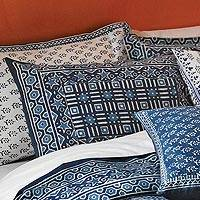 Cotton pillow sham, 'Rajasthani Indigo' - Indigo Blue Geometric Standard Pillow Sham