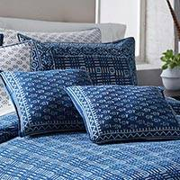 Cotton accent pillow, 'Rajasthani Indigo' - Indigo Print Cotton Square Accent Pillow from India