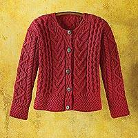 Wool cardigan, 'Bountiful' - Women's Merino Wool Irish Cardigan