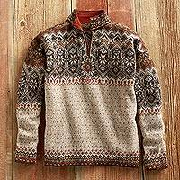 Men's 100% alpaca sweater, 'Tarabuco Market' - Men's 100% Alpaca Zip-Neck Sweater