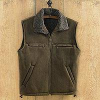 Men's microsuede travel vest, 'Highland Traveler' - Men's Microsuede Travel Vest