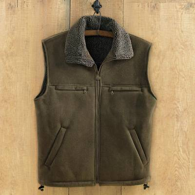 Mens microsuede travel vest, Highland Traveler