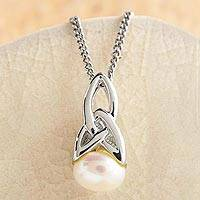 Cultured pearl pendant necklace, 'Celtic Tradition' - Cultured Pearl Necklace with Celtic Knot Motif