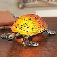 Stained glass accent lamp, 'Turtle Glow' - Art Nouveau-inspired Turtle Lamp
