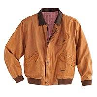 Men's cotton canvas jacket, 'Outback Adventure' - Men's Outback Cotton Canvas Jacket