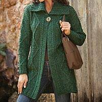 Wool sweater jacket, 'Highland Moors' - Irish Sweater Jacket