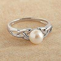 Cultured pearl cocktail ring, 'Celtic Tradition' - Celtic Cultured Pearl and Sterling Silver Ring