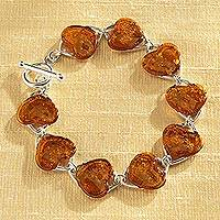 Amber link bracelet, 'Baltic Gold' - Baltic Amber and Sterling Silver Heart Link Bracelet